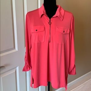 Kenneth Cole coral/red zip Top, XL